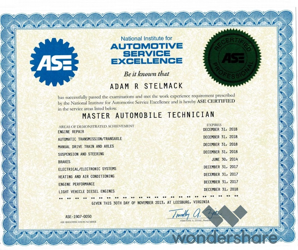 Certifications - Next Generation Mechanics